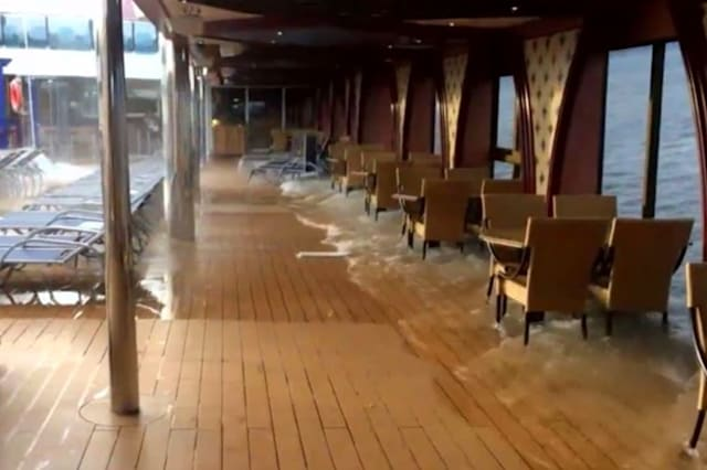 Wath: Cruise ship dramatically tips to one side
