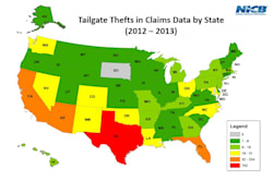 Tailgate theft by state from 2012 and 2013
