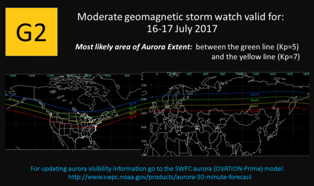 The Space Weather Prediction Centre says a moderate geomagnetic storm will make auroras visible in North...