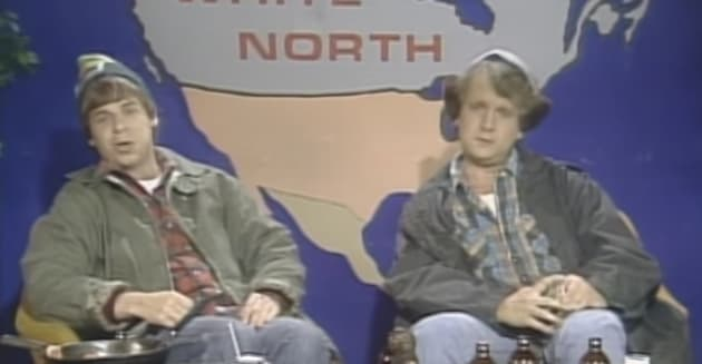"""The McKenzie brothers from """"SCTV"""" helped define the Americans' perceptions of Canadians as..."""