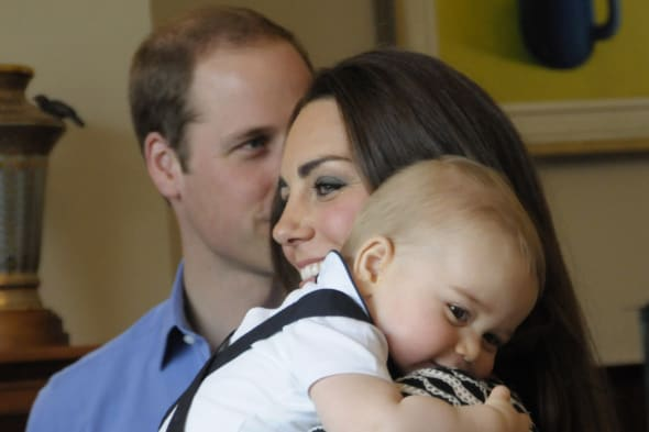 The Duke and Duchess of Cambridge and Prince George visit Plunket, a child welfare group at Government House, Wellington, during their official tour to New Zealand. PRESS ASSOCIATION Photo. Picture date: Wednesday April 9, 2014. Photo credit should read: Anthony Devlin/PA Wire