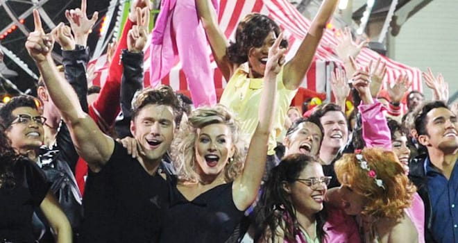 grease, grease live, fox, julianne hough, aaron tveit