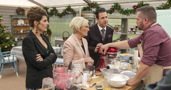 "THE GREAT HOLIDAY BAKING SHOW - It's a delicious addition to television this holiday season when ""The Great Holiday Baking Show"" premieres on ABC, MONDAY, NOVEMBER 30 (10:00 p.m. - 11:00 p.m., ET). (ABC/Michael Bourdillon)NIA VARDALOS, MARY BERRY, JOHNNY IUZZINI, TIM SAMSON"