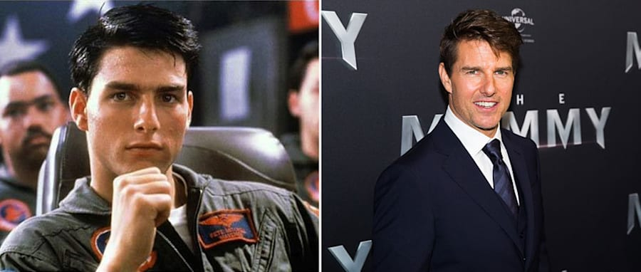 "Cruise control: The actor in his ""Top Gun"" role from 1986, and in 2017 at the premiere of ""The"