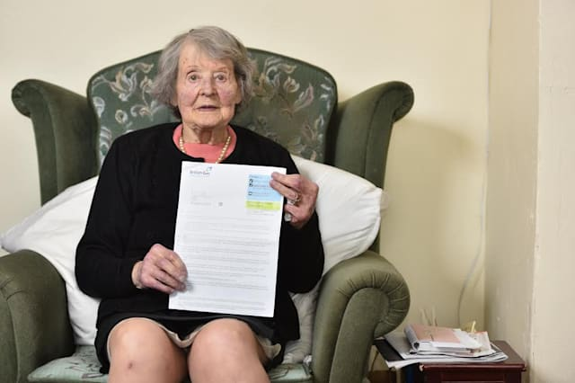 War heorine Dorothy Edwards, 92, received a surprise bill from British Gas, but couldn't understand it because of all the spelling and grammar errors, pictured at home in Stannington near Sheffield, South Yorks., April 05 2017. See Ross Parry story RPYLETTER: A 92-year-old wartime heroine was astonished to receive a letter from British Gas riddled with spelling mistakes and incomprehensible sentences. Fearless Dorothy Edwards survived German bullets in the Second World War and in an incident when her airfield was strafed by a raiding German fighter. Her prompt action in urging her Women's Auxiliary Air Force comrades to shelter under a nearby tree probably saved lives. But the plucky OAP was almost left floored after receiving a letter from British Gas which was full of goobledygook.