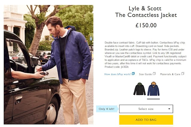 Contactless payment jacket invented by British brand