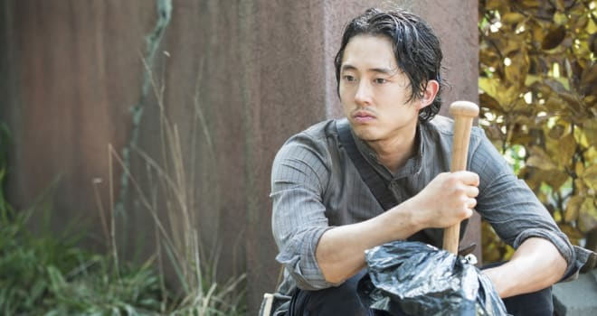 Steven Yeun - The Walking Dead _ Season 5, Episode 9 _ BTS - Photo Credit: Gene Page/AMC