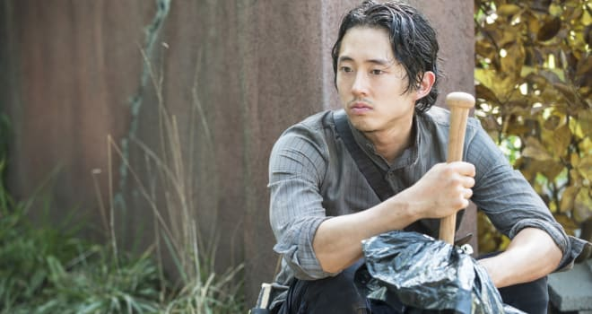 Steven Yeun - The Walking Dead _ Season 5, Episode 9 _ BTS - Photo Credit: Gene Page/AMC