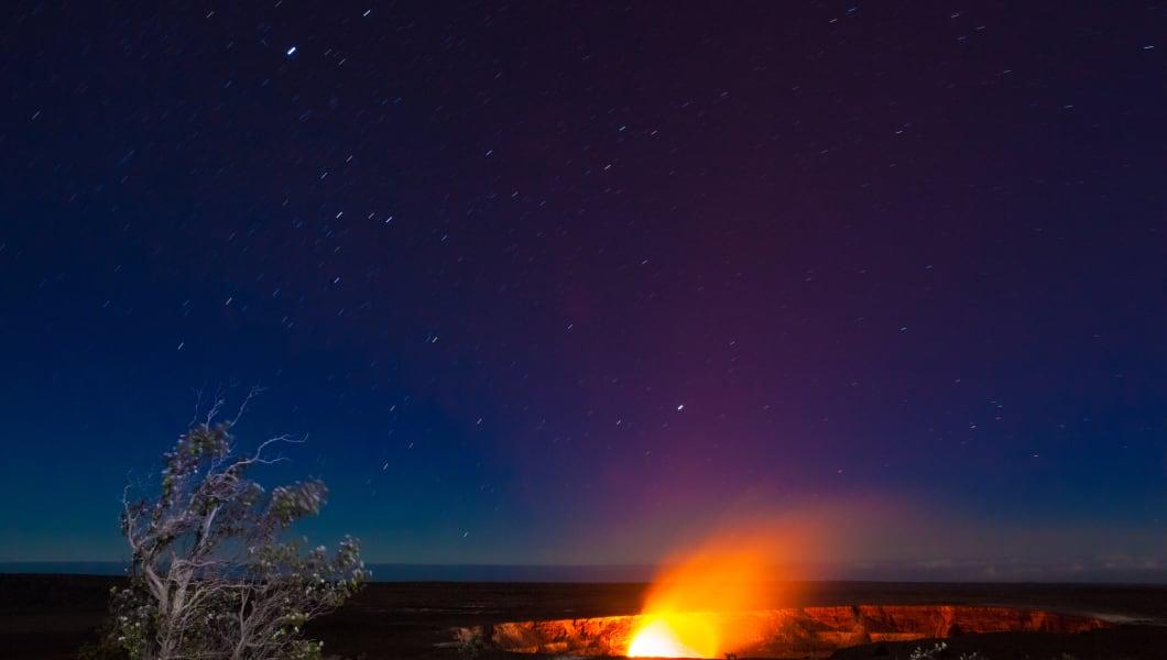Erupting volcano in Hawaii Volcanoes National Park, Big Island, Hawaii. Night photos with long exposure.
