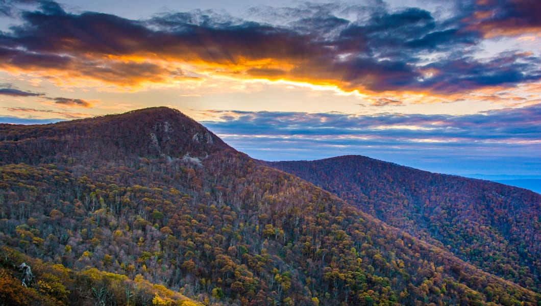 Autumn sunset over Hawksbill Mountain, seen from Skyline Drive in Shenandoah National Park, Virginia.