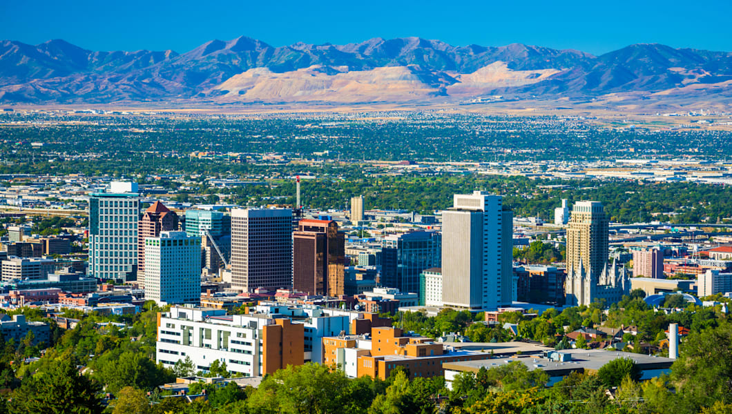 Salt Lake City aerial skyline view with the Oquirrh Mountain Range in the background.