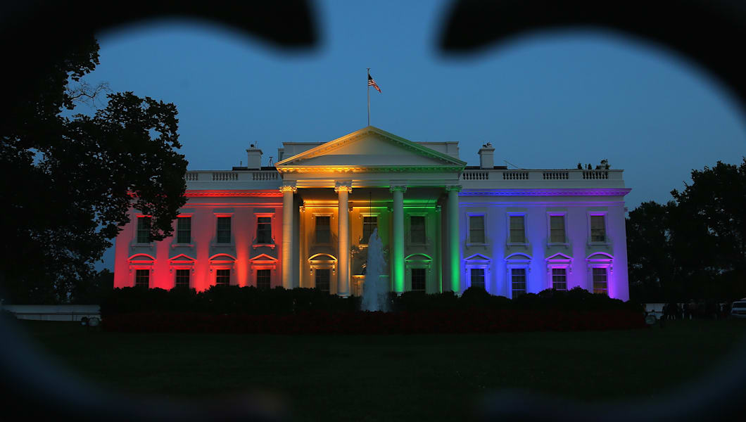 WASHINGTON, DC - JUNE 26:  Rainbow-colored lights shine on the White House to celebrate today's US Supreme Court ruling in favor of same-sex marriage June 26, 2015 in Washington, DC. Today the high court ruled 5-4 that the Constitution guarantees a right to same-sex marriage in all 50 states.  (Photo by Mark Wilson/Getty Images)