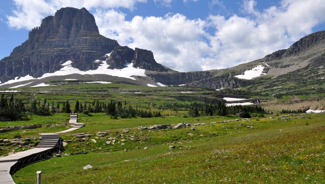 Scenic landscape in Glacier National Park in summer sunny day in state Montana USA