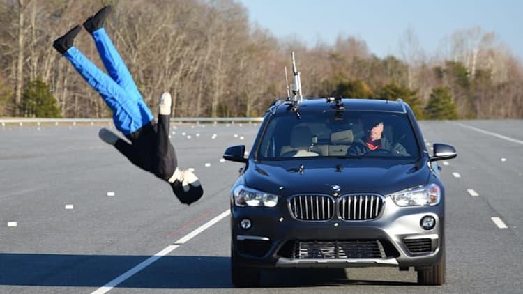 Watch the BMW X1 clobber test dummies in IIHS pedestrian safety test
