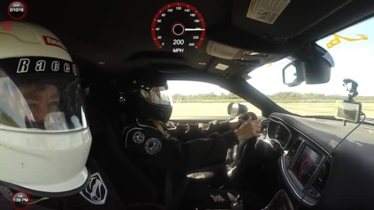Watch a Dodge Challenger Demon break 200 mph