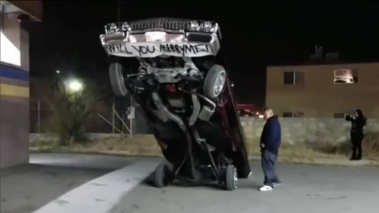 When lowriders are life, of course they'll be involved in a marriage proposal