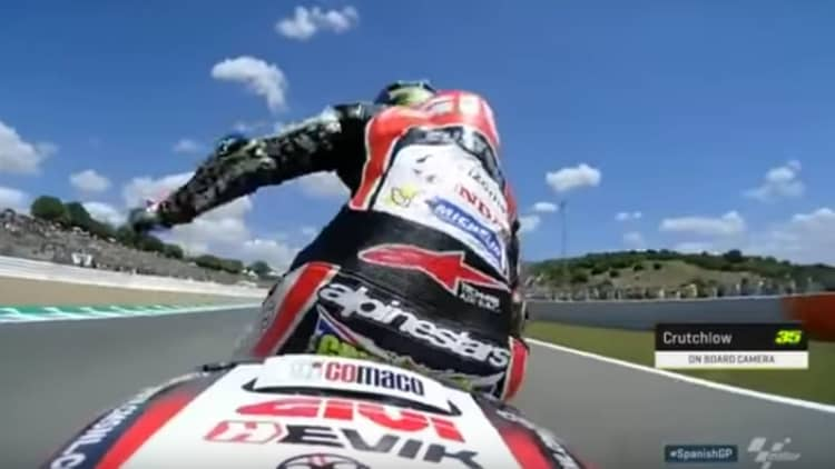 Watch Cal Crutchlow get stung by a wasp on a MotoGP bike ahead of the Jerez Grand Prix