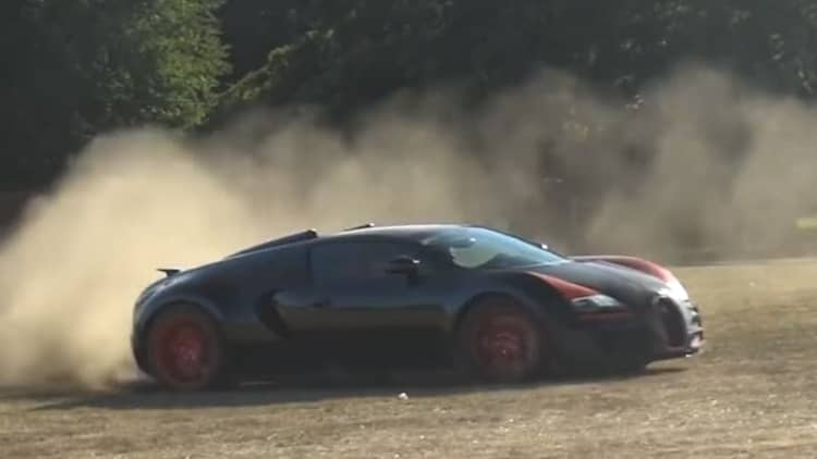 Watch a Bugatti Veyron Vitesse drift, slide, and run a rally course