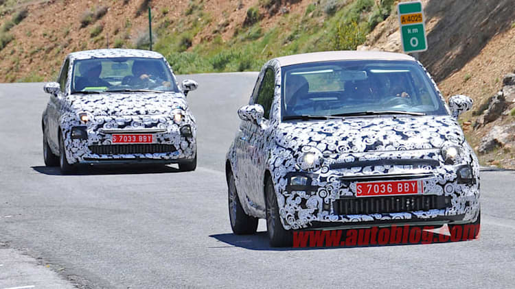 Refreshed Fiat 500 and 500c show their new face on the open road