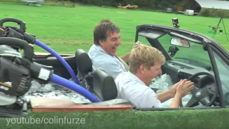 Colin Furze turns a BMW into a hot tub and takes it for a spin
