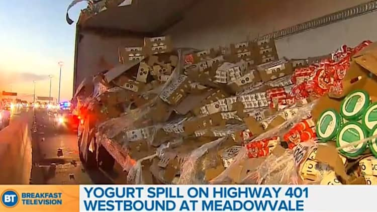 Yogurt spill closes four lanes of Canada's busiest highway