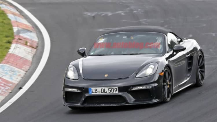 New Porsche Boxster Spyder spied testing on the Nurburgring