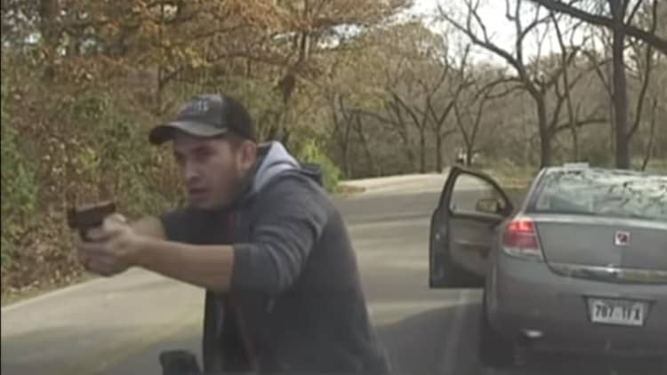 Dashcam shows dramatic traffic-stop shootout — up close and personal