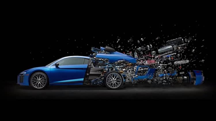 Watch this artist disassemble an Audi R8 V10 for an extremely awesome poster