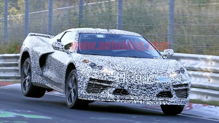 Mid-engine 2020 Chevy Corvette prototypes flying at the Nurburgring