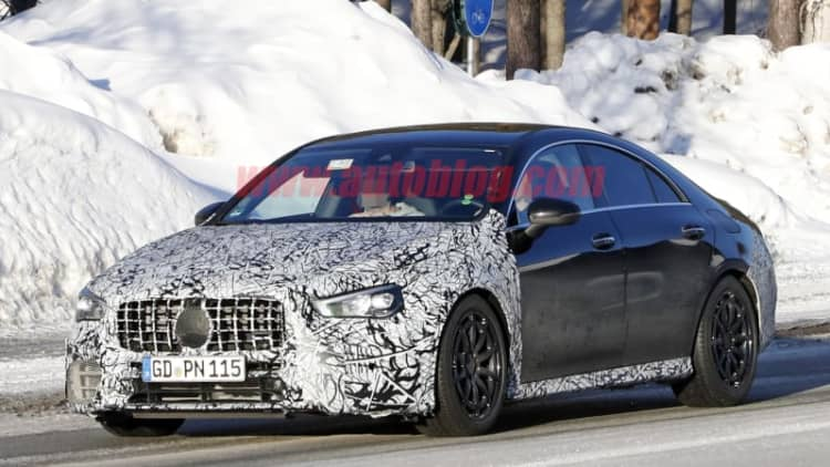 2020 Mercedes-AMG CLA 45 spied testing in snowy Europe