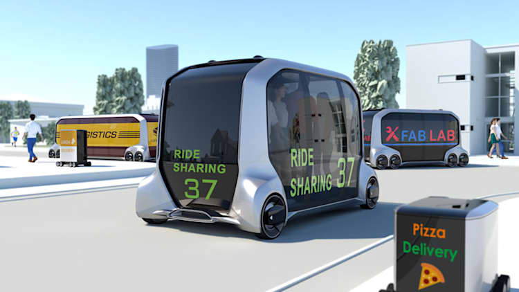Mazda rotary engine returning, in an autonomous Toyota delivery vehicle