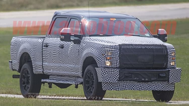 2020 Ford Super Duty Dually spied looking menacing in full camo