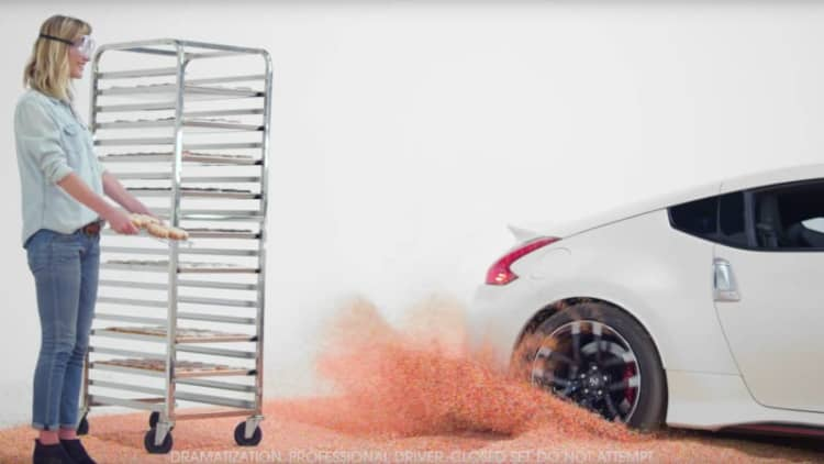 Nissan does donuts to put sprinkles on donuts for National Donut Day