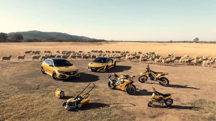Honda made gold NSX, Civic Type R, lawnmower, generator for its 50th anniversary in Australia