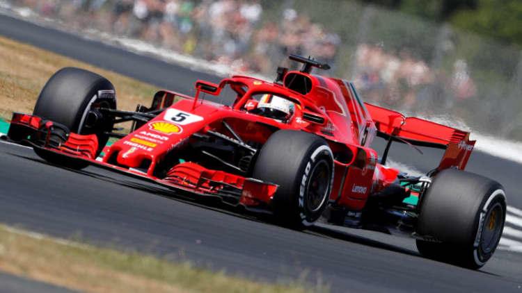 F1's Vettel leads, Verstappen and Grosjean crash at Silverstone