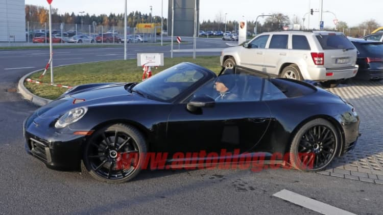 Porsche 911 992 Convertible spied with top down