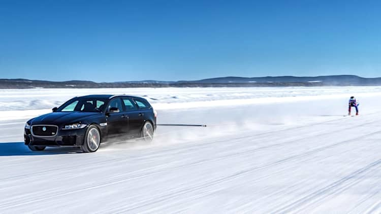 Watch a Jaguar tow a man on skis to 117 mph