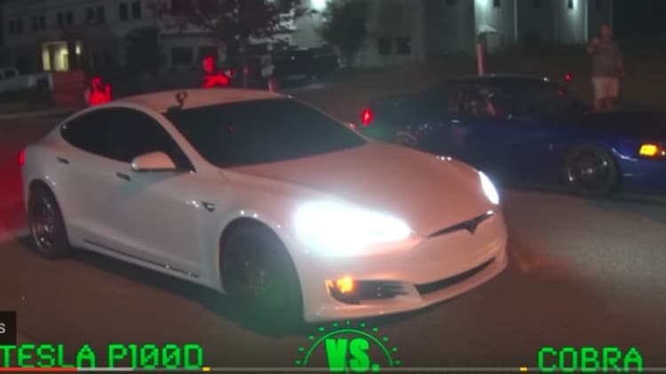 Watch this Tesla Model S P100D shred street racers