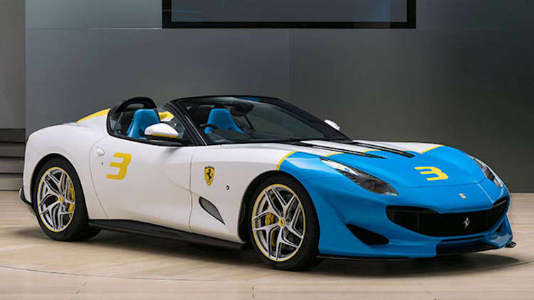 Ferrari SP3JC one-off channels vintage roadsters with a color-wheel twist