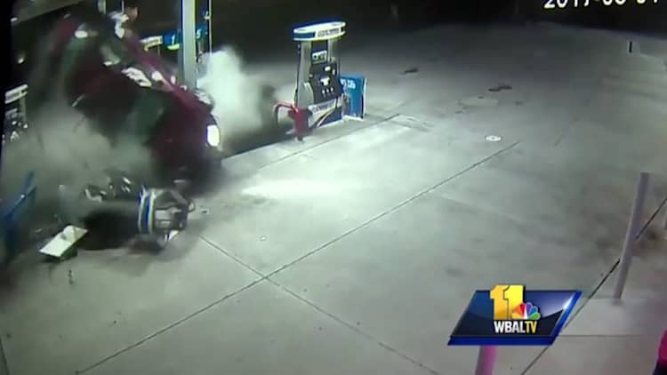 Watch as an out-of-control car demolishes gas pump