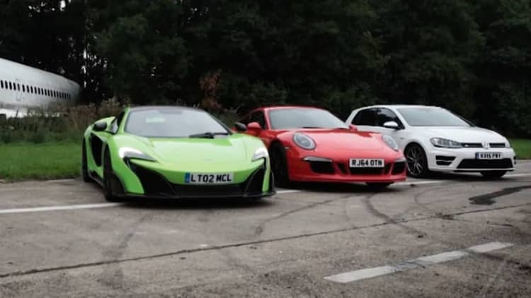 Top Gear drag races VW Golf R against McLaren 675LT and Porsche 911