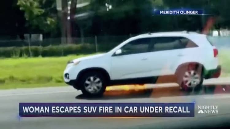 Driver unaware SUV is in flames going down the highway