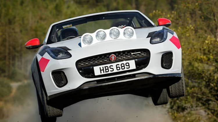 Jaguar F-Type Rally Car First Ride | This cat likes gravel