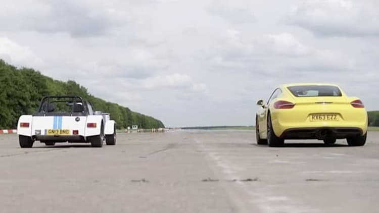Porsche Cayman S and Caterham 7 go head to head on the drag strip