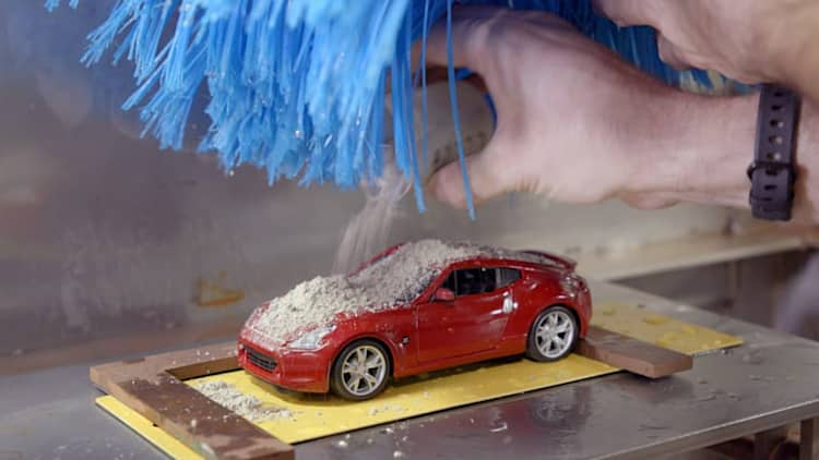 Tiny carwash used for somehow-serious purpose of testing Nissan paint
