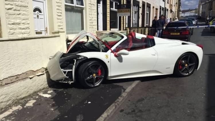 Newlyweds crash rented Ferrari into a house