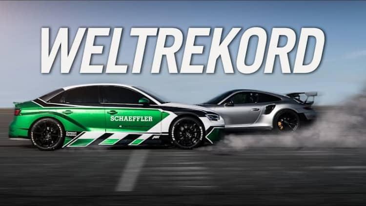 Watch Schaeffler Audi RS3 EV set 130 mph world record — in reverse