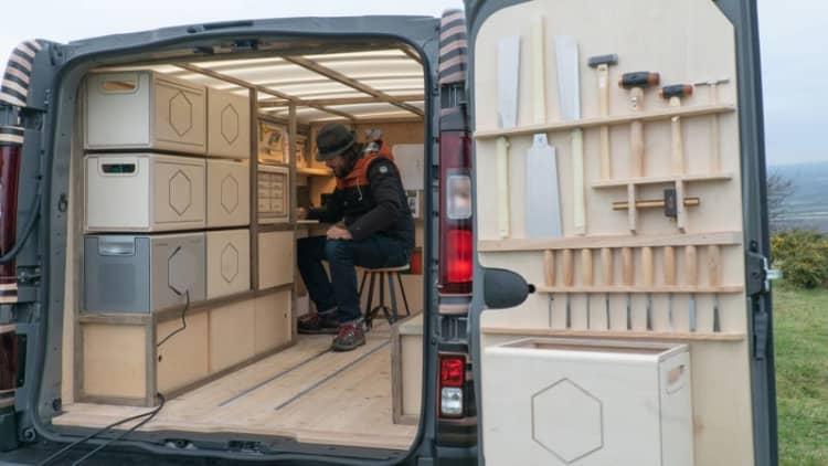 Nissan NV300 cargo van remixed into woodworking shop