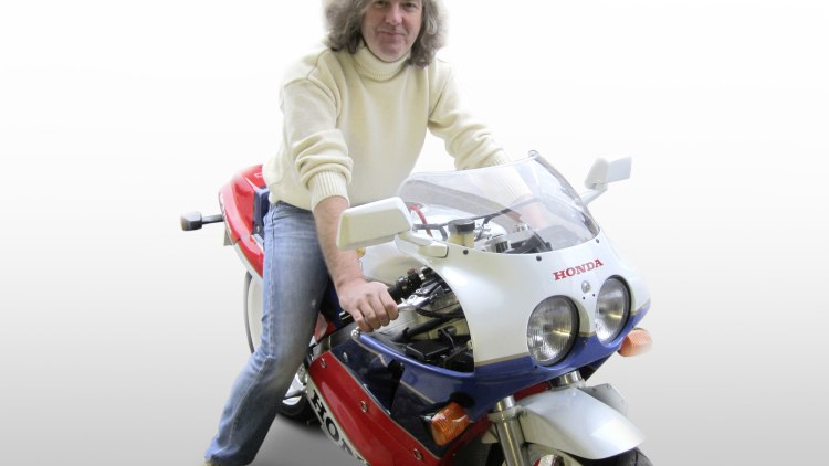 Top Gear's James May on a motorcycle
