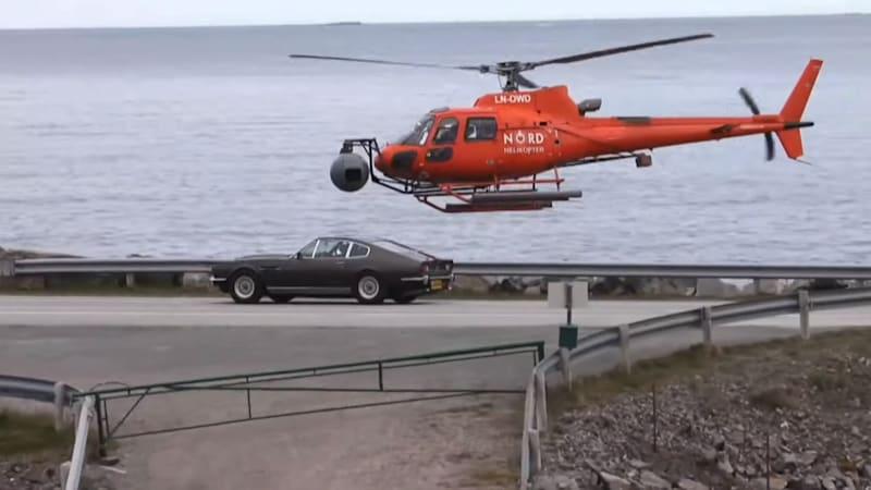Aston Martin V8 Vantage Series II spotted during 'Bond 25' filming